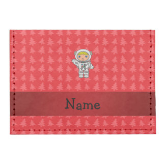 Personalized name astronaut red christmas trees tyvek® card case wallet