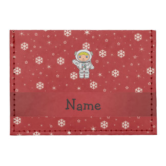 Personalized name astronaut red snowflakes tyvek® card wallet