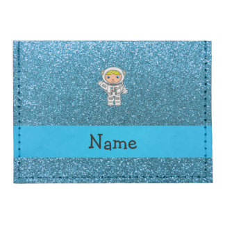 Personalized name astronaut sky blue glitter tyvek® card wallet