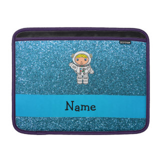 Personalized name astronaut sky blue glitter MacBook sleeves