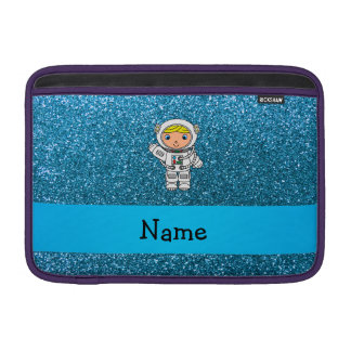 Personalized name astronaut sky blue glitter MacBook air sleeves