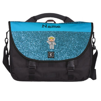 Personalized name astronaut sky blue glitter laptop computer bag