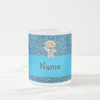 Personalized name astronaut sky blue glitter coffee mug