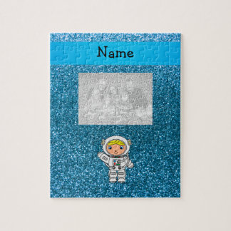 Personalized name astronaut sky blue glitter jigsaw puzzle