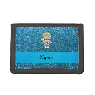 Personalized name astronaut sky blue glitter trifold wallet