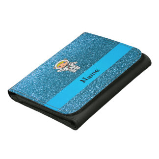 Personalized name astronaut sky blue glitter leather wallet