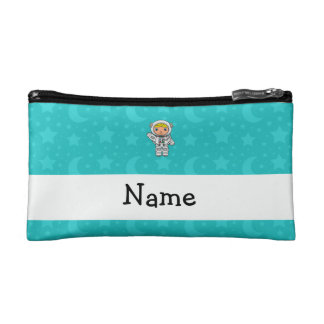 Personalized name astronaut turquoise stars moons makeup bag