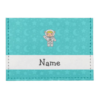 Personalized name astronaut turquoise stars moons tyvek® card case wallet