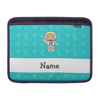 Personalized name astronaut turquoise stars moons sleeve for MacBook air