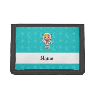 Personalized name astronaut turquoise stars moons tri-fold wallet