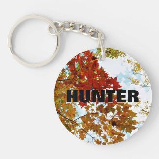Personalized Name   Autumn Tree Leaves Sky Photo Keychain