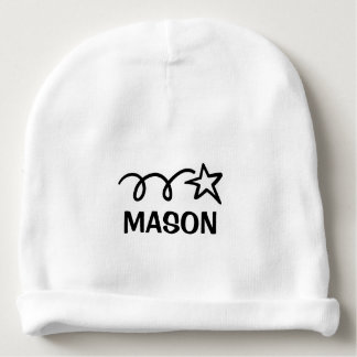 Personalized name baby beanie hats with cute star