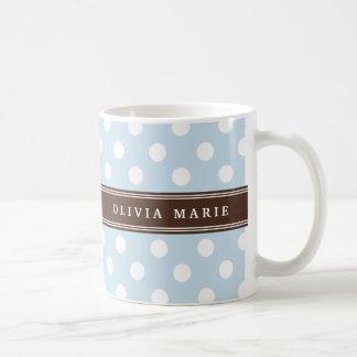 Personalized Name Baby Blue Polka Dots Pattern Coffee Mug