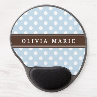 Personalized Name Baby Blue Polka Dots Pattern Gel Mouse Pad