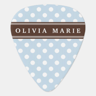 Personalized Name Baby Blue Polka Dots Pattern Guitar Pick