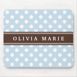 Personalized Name Baby Blue Polka Dots Pattern Mouse Pad