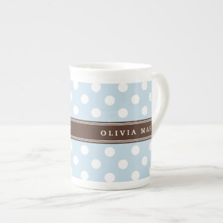 Personalized Name Baby Blue Polka Dots Pattern Tea Cup