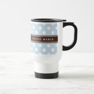 Personalized Name Baby Blue Polka Dots Pattern Travel Mug