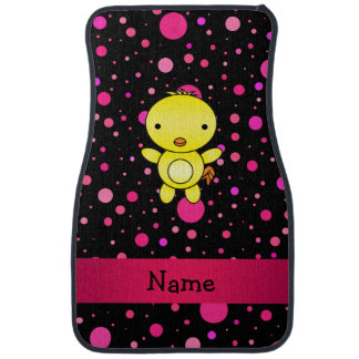 Personalized name baby chick black pink polka dots car floor mat