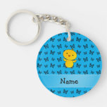 Personalized name baby chick blue butterflies Double-Sided round acrylic keychain