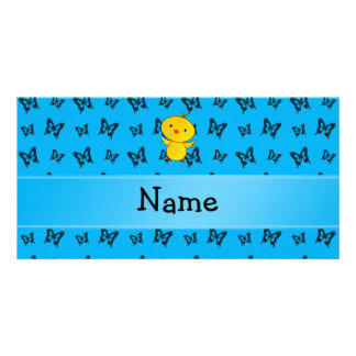 Personalized name baby chick blue butterflies photo card
