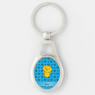 Personalized name baby chick blue butterflies keychain