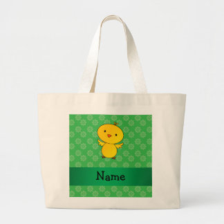 Personalized name baby chick green flowers jumbo tote bag