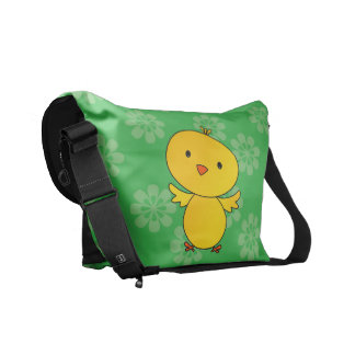 Personalized name baby chick green flowers messenger bag