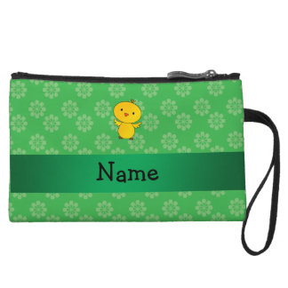 Personalized name baby chick green flowers wristlet clutches