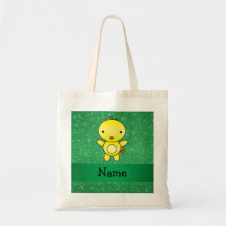 Personalized name baby chick green glitter budget tote bag