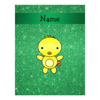 Personalized name baby chick green glitter letterhead template