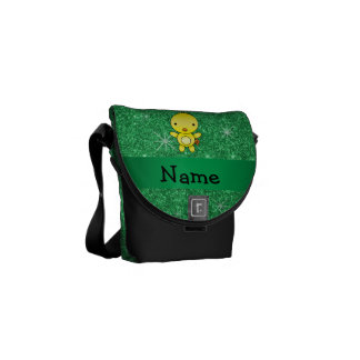 Personalized name baby chick green glitter messenger bags