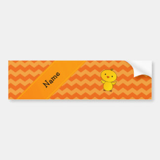 Personalized name baby chick orange chevrons bumper sticker