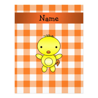 Personalized name baby chick orange gingham letterhead