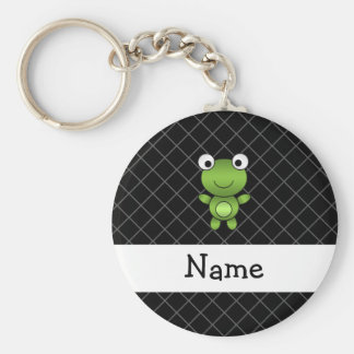 Personalized name baby frog black criss cross basic round button keychain
