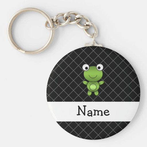Personalized name baby frog black criss cross key chain