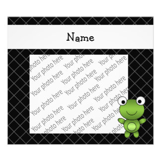 Personalized name baby frog black criss cross art photo