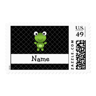 Personalized name baby frog black criss cross postage