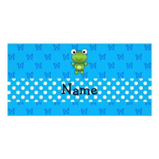 Personalized name baby frog blue butterflies photo card