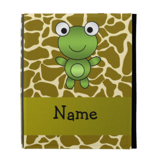 Personalized name baby frog giraffe pattern iPad cases