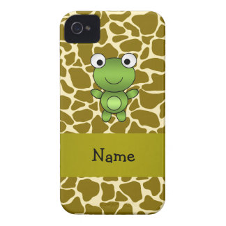Personalized name baby frog giraffe pattern iPhone 4 Case-Mate cases
