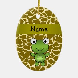 Personalized name baby frog giraffe pattern ceramic ornament