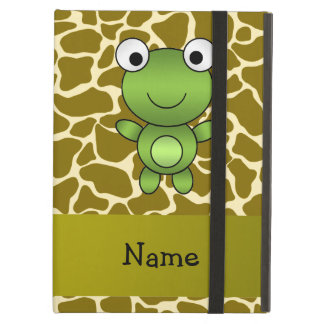 Personalized name baby frog giraffe pattern iPad folio cases