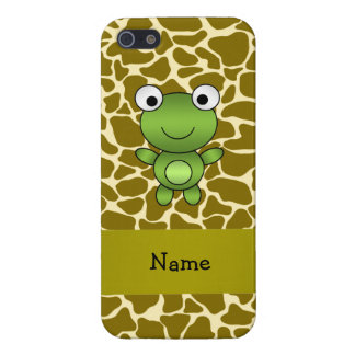 Personalized name baby frog giraffe pattern cover for iPhone 5