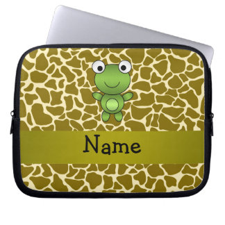 Personalized name baby frog giraffe pattern computer sleeves