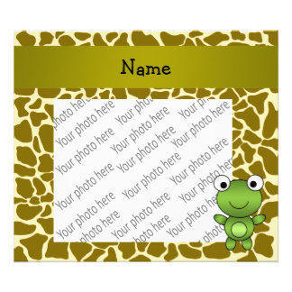 Personalized name baby frog giraffe pattern photo