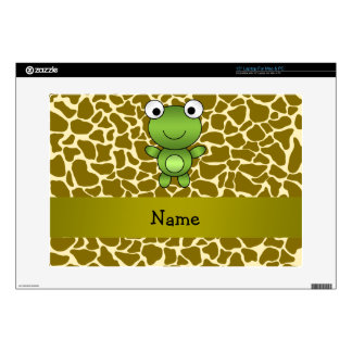"""Personalized name baby frog giraffe pattern skins for 15"""" laptops"""
