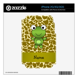 Personalized name baby frog giraffe pattern decal for iPhone 3GS