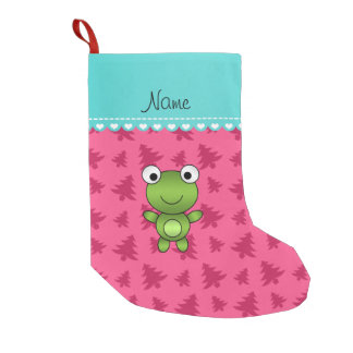 personalized name baby frog pink christmas trees small christmas stocking - Small Pink Christmas Tree