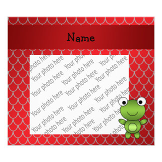 Personalized name baby frog red dragon scales photo print